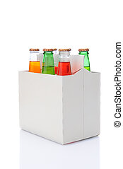 Six Pack of Assorted Soda Bottles - Three quarters view of a...
