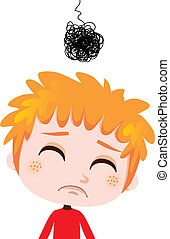 Depressed Kid - Portrait illustration of a worried kid...