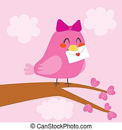 Love Bird Letter - Little cute pink bird carrying a...