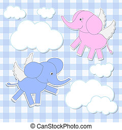 elephants angels - Cute babies-elephants angels.Vector...