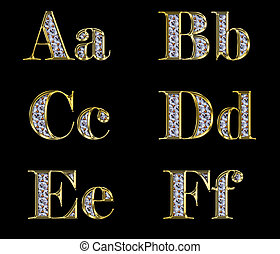 Golden alphabet with diamonds, letters from A to F