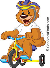 Bear on tricycles - Young bear on tricycles