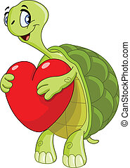 Turtle with heart - Turtle holding a heart