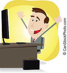 Find Your Stuff On The Net - Illustration of a cartoon happy...