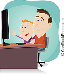 Daddy and son surfing on the net - Illustration of a cartoon...