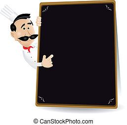 Chef Menu Holding A Blackboard Showing Todays Special -...