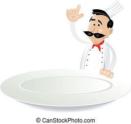 Chef Menu Holding Dish - Illustration of a cartoon white...