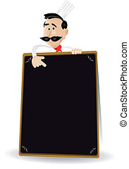 Chef Menu Holding A Blackboard - Illustration of a cartoon...