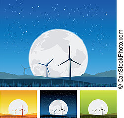 Windmills inside Landscape at Night