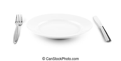 white plate, knife and fork cutlery isolated with clipping...