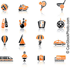 Recreation, Vacation & Travel, icons set. Sport, Tourism...