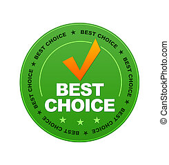 Best Choice - Green Best Choice Button on white background.