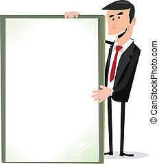 Cartoon White Businessman Holding A Blank Sign -...
