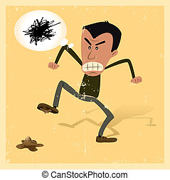 Unlucky Man - Illustration of a man in the street angry...