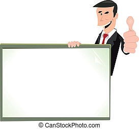 Cartoon White Businessman Blank Sign - Illustration of a...