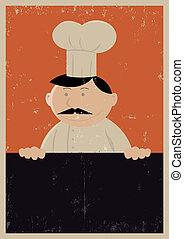 Grunge Chef Menu Poster - Illustration of a Chef Baker...