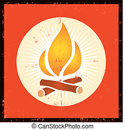 Grunge Fire Symbol - Illustration of a grunge fire flame...