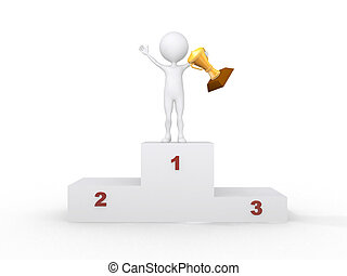 3d people- human character with the cup on the podium This...
