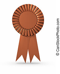 Bronze Ribbon - Bronze ribbon/Award. Clipping path included.