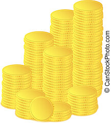 Golden coins - Vector golden coins on white background