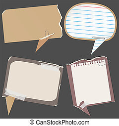 Paper speech bubbles - Abstract paper speech bubbles, vector...