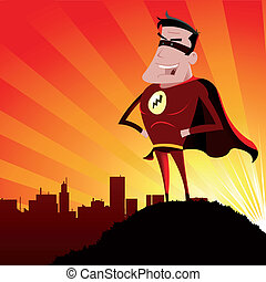 Super Hero - Male - Illustration of a cartoon super hero...