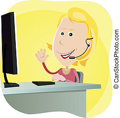 Technical support Girl - Illustration of a cartoon happy...