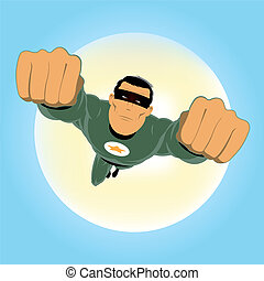 Comic-like Green Super-Hero - Illustration of a comic...