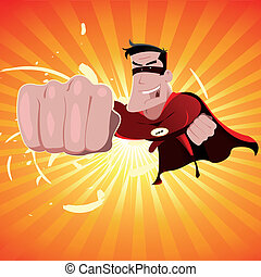 Super Hero - Male - Illustration of a flashy comic cartoon...