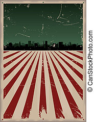 Grunge American Poster - Illustration of a Grunge american...