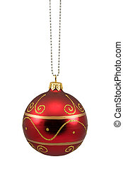 red hung christmas bauble isolated on white background