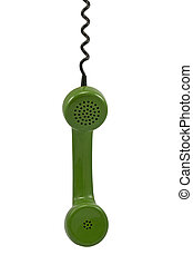 green telephone receiver - green telephone receiver with...