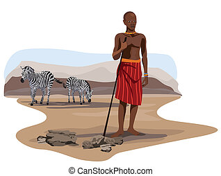 African Man and Zebras on Savannah - Illustration of zebras...