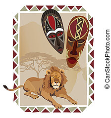 African Lion and Masks