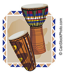 African Drums - Decorative frame with traditional African...