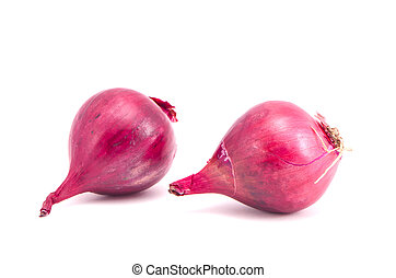 Pair red onion healthy nutrition isolated white