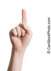 man index finger isoalted on white background
