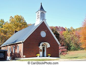 A country church in Autumn - A small country church...