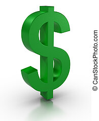 Dollar Sign - 3D rendered dollar sign on reflective surface....