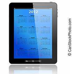 Tablet PC - This is a calendar for 2012 in tablet PC