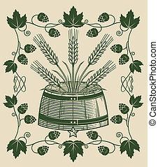 Vintage Biergarten Art - Old fashioned art of a mash barrel...