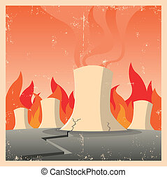 Nuclear Threat - Illustration of a nuclear reactor firing in...