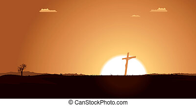 Christian Cross Inside Desert Landscape - Illustration of a...