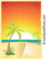 Exotic Beach Grunge Postcard