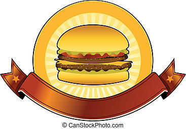 Burger Restaurant Banner - Illustration of a mouth watering...