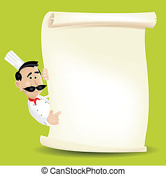 Chef Menu Holding A Parchment Menu - Illustration of a...
