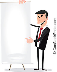 Business Results - Illustration of a cartoon white...