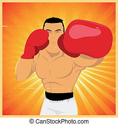 Left Jab - Grunge Boxer Poster - Illustration of a grunge...