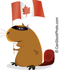 Canada Day - Illustration of a cartoon beaver for Canada Day...