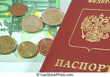 International Passport and euro coins for journey
